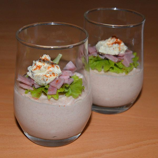 Ham mousse with a mustard dressing