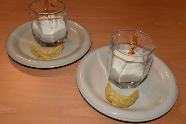 Lime-ginger syllabub with almond curl