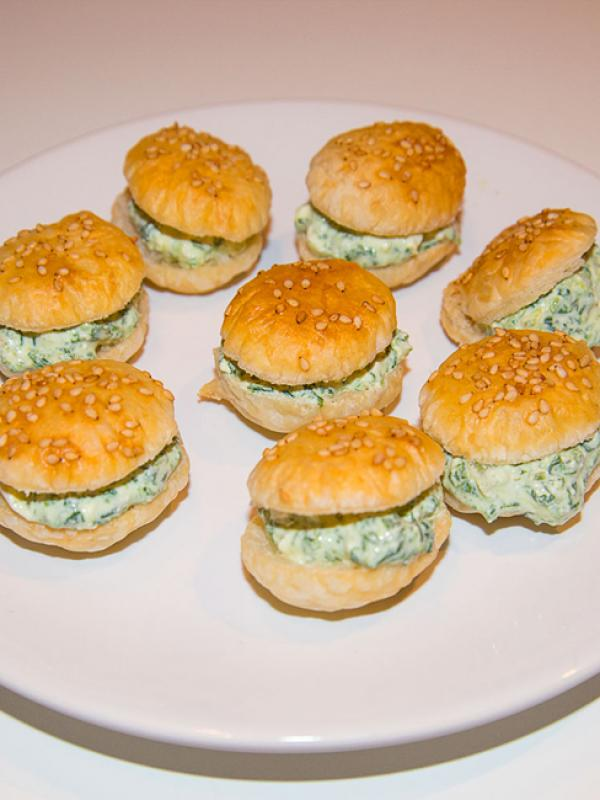 Puff pastry with spinach cream cheese