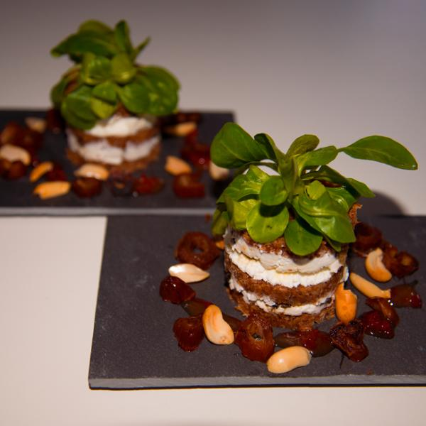 Rye bread goat cheese tower