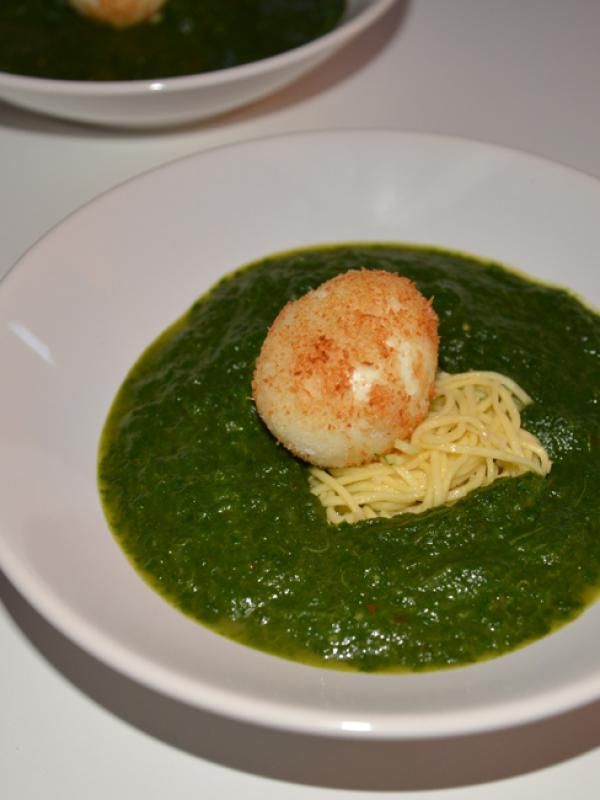 Spinach coconut soup with crispy egg